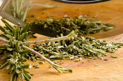 Rosemary is chopped with a knife cradle Stock Image