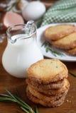 Rosemary cookies. Rosemary sugar cookies with milk Stock Photo