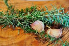 Rosemary ed aglio Fotografia Stock Libera da Diritti
