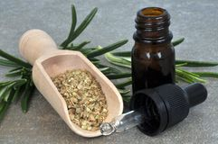 Bottle of essential oil of rosemary stock photos