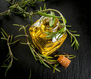 Rosemary essential oil jar glass bottle Stock Photos