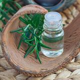 Rosemary etherische olie in glas op geweven mat met kuuroordachtergrond, vierkant formaat Royalty-vrije Stock Afbeelding