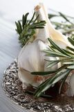 Rosemary and garlic on a wooden table. Royalty Free Stock Photos
