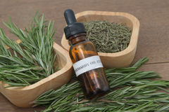 Rosemary herb and aromatherapy  essential oil. Dropper bottle ,for spa treatment Stock Photos