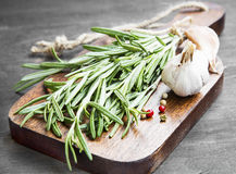 Rosemary Herb with Garlic and Pepper Spice Royalty Free Stock Photo