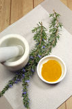 Rosemary herb and turmeric spice with mortar and pestle - vertical Royalty Free Stock Photo