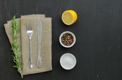 Rosemary with knife and fork. Lying on the linen napkin whith spices. Copy-space composition Royalty Free Stock Image