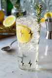 Rosemary Lemon Gin Fizz or Vodka Smash Cocktail. An iced rosemary lemon cocktail in a tall vintage glass sits on a marble bar top with ingredients in the stock photography