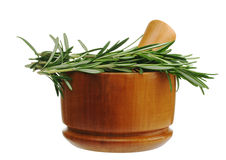 Rosemary with Mortar Stock Photography