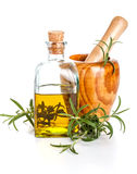 Rosemary oil bottle Stock Image