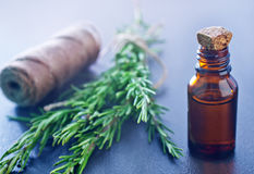 Rosemary oil. On a table Stock Images