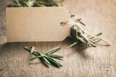 Rosemary with paper card on wood table Stock Image