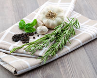 Rosemary, pepper and garlic Stock Photography