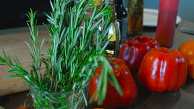 Rosemary and pepper on the table stock footage