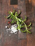 Rosemary, peppercorns and sea salt Stock Image