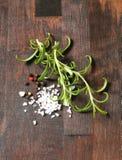 Rosemary, peppercorns and sea salt Stock Image