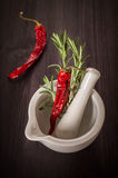 Rosemary and red hot chili pepper Stock Image