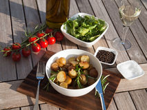 Rosemary roasted potatoes with vegetables Stock Images