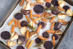 Rosemary roasted root vegetables Stock Photography
