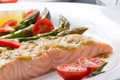 Rosemary Roasted Salmon stock image