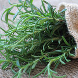 Rosemary in Small Burlap Bag Royalty Free Stock Photography