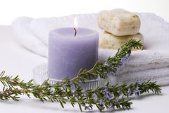 Rosemary spa set. Spa set with rosemary best suited for relaxing and health commercials royalty free stock photo