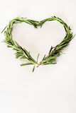 Rosemary sprigs heart with copyspace Stock Image