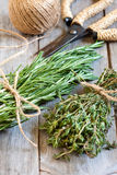 Rosemary and thyme. Bunches of rosemary and thyme woth old-fashioned rusty scissors. Selective focus Royalty Free Stock Photos
