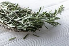 Rosemary on a white wooden table. Royalty Free Stock Photos