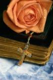 Rosen-alte Bibel und Kreuz Stockfoto
