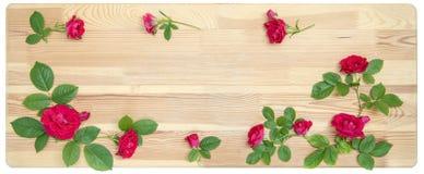 Rosen auf hölzernem Hintergrund Stockbild