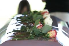 Rosen auf Sarg Lizenzfreie Stockbilder