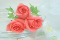Rosen auf Voile Stockbild