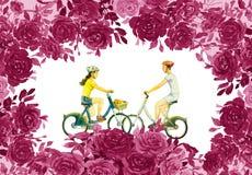Rosen blühen mit jungem Mann, Frau, Fahrfahrrad stock abbildung