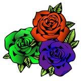 Rosen-Blume, Tätowierungsskizze Drei Blumenrosen in den ungewöhnlichen hellen Farben kreativ, purpurroter Knospe, Orange und Grün stock abbildung