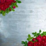 Rosen-Blumen auf hölzernem Hintergrund lizenzfreie stockfotos