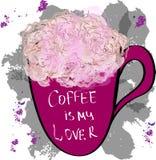 Rosen-Blumen in einer Schale mit Aufschriftkaffee ist mein Liebhaber, vecto Lizenzfreie Stockfotos