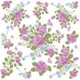Rosen-Blumen- und -schmetterlingshintergrundmuster Stockbild