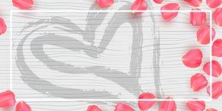Rosen-Blumenblätter auf weißer hölzerner Beschaffenheit Hintergrundkarte für Valentinsgruß Plakat mit den Florenelementen und Han vektor abbildung