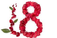 Rosen-Blumenblätter in einer Form von acht Lizenzfreie Stockbilder