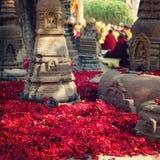 Rosen-Blumenblätter für Angebotrespekt - Retro- Filterfoto Bodh Gaya Lizenzfreies Stockfoto