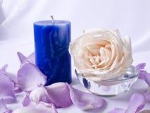 Rosen-Blumenblätter und Kerze Lizenzfreie Stockfotos