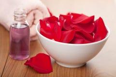 Rosen-Blumenblätter und Tuch Stockfotografie