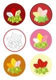 Rosen-Blumenblumenstrauß mit Schablone Stockbilder
