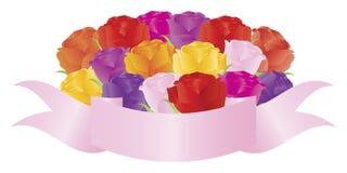 Rosen-Blumenstrauß mit Fahnen-Abbildung Lizenzfreies Stockbild