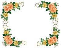 Rosen, die Einladungspfirsich und -GELB Wedding sind Stockfotos