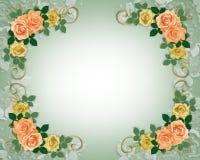 Rosen, die Einladungspfirsich und -GELB Wedding sind Lizenzfreie Stockbilder