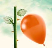 Rosen-Dorn und roter Ballon Stockfotos