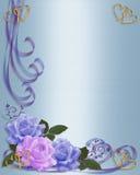 Rosen fassen Blau- und Lavendelhochzeitseinladung ein Stockfotografie