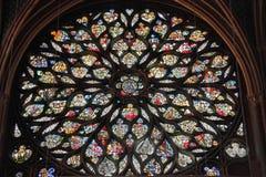 Rosen-Fenster des Sainte Chapelle Stockbild